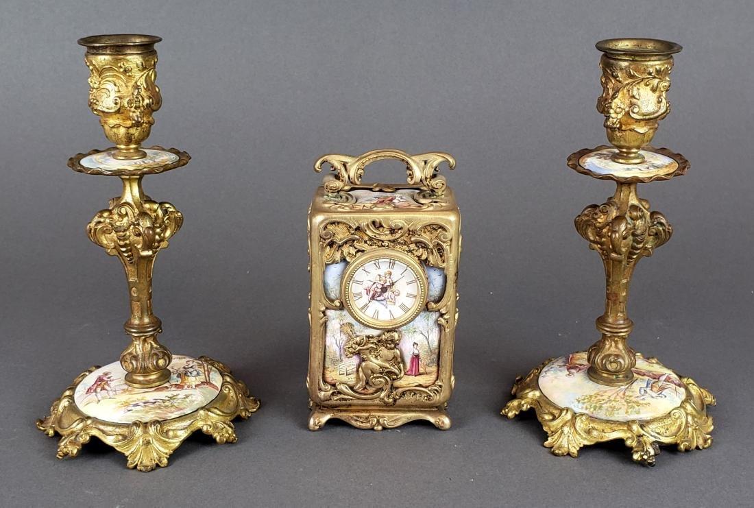 Viennese Enamel & Bronze Clockset