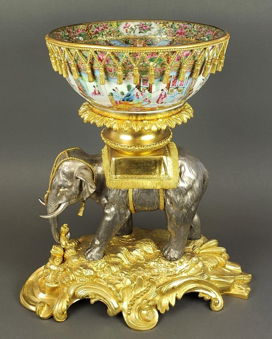 Large Bronze & Porcelain Chinese Elephant Centerpiece