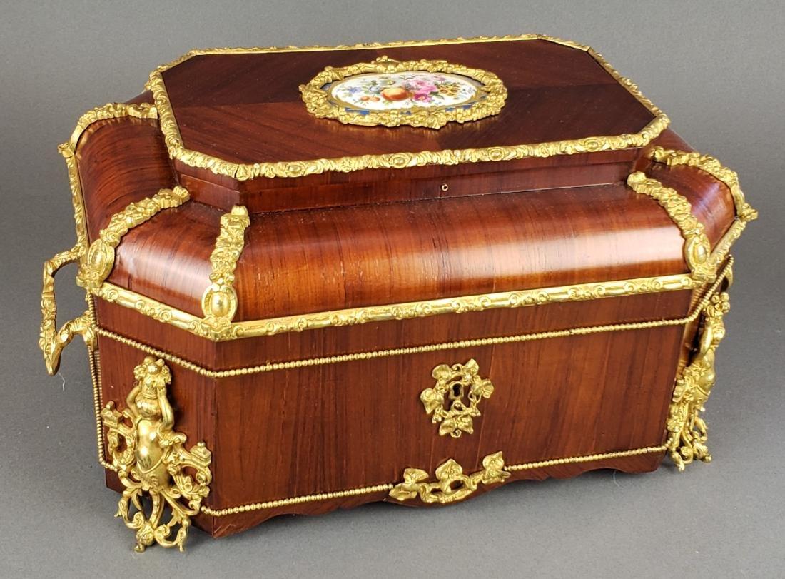 19th C. Napoleon III Tulip-Wood Bronze Sevres Large Box