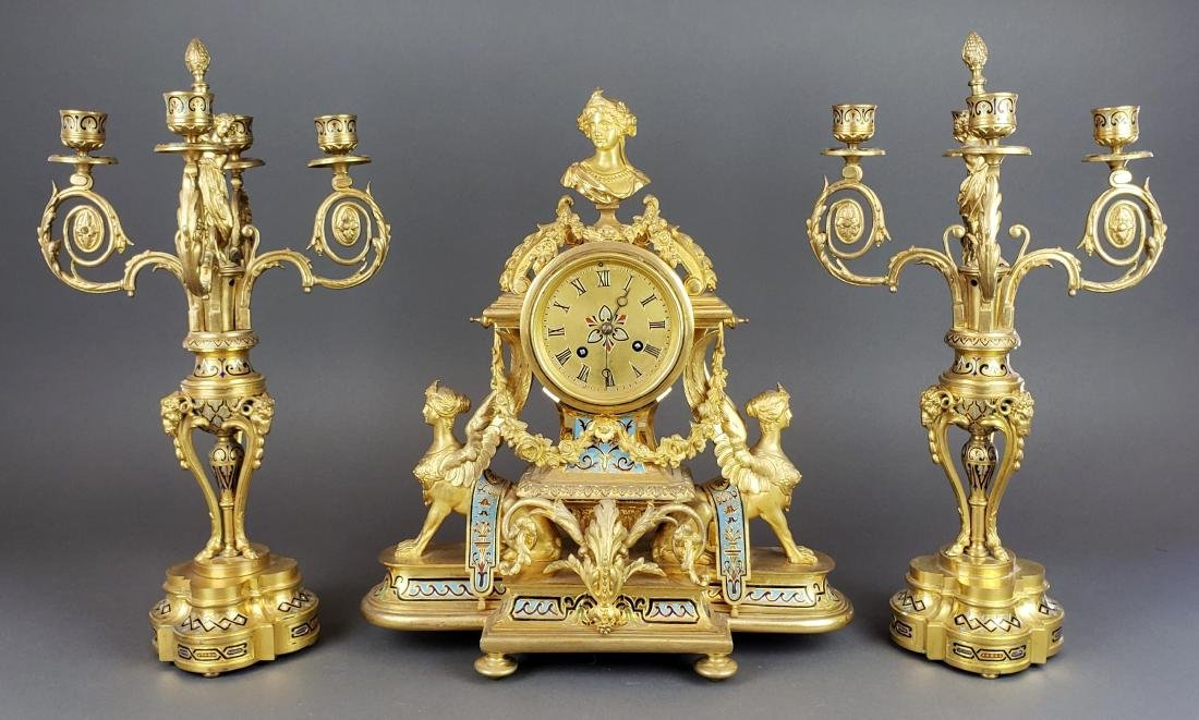 19th C. French Champleve Enamel & Bronze Figural