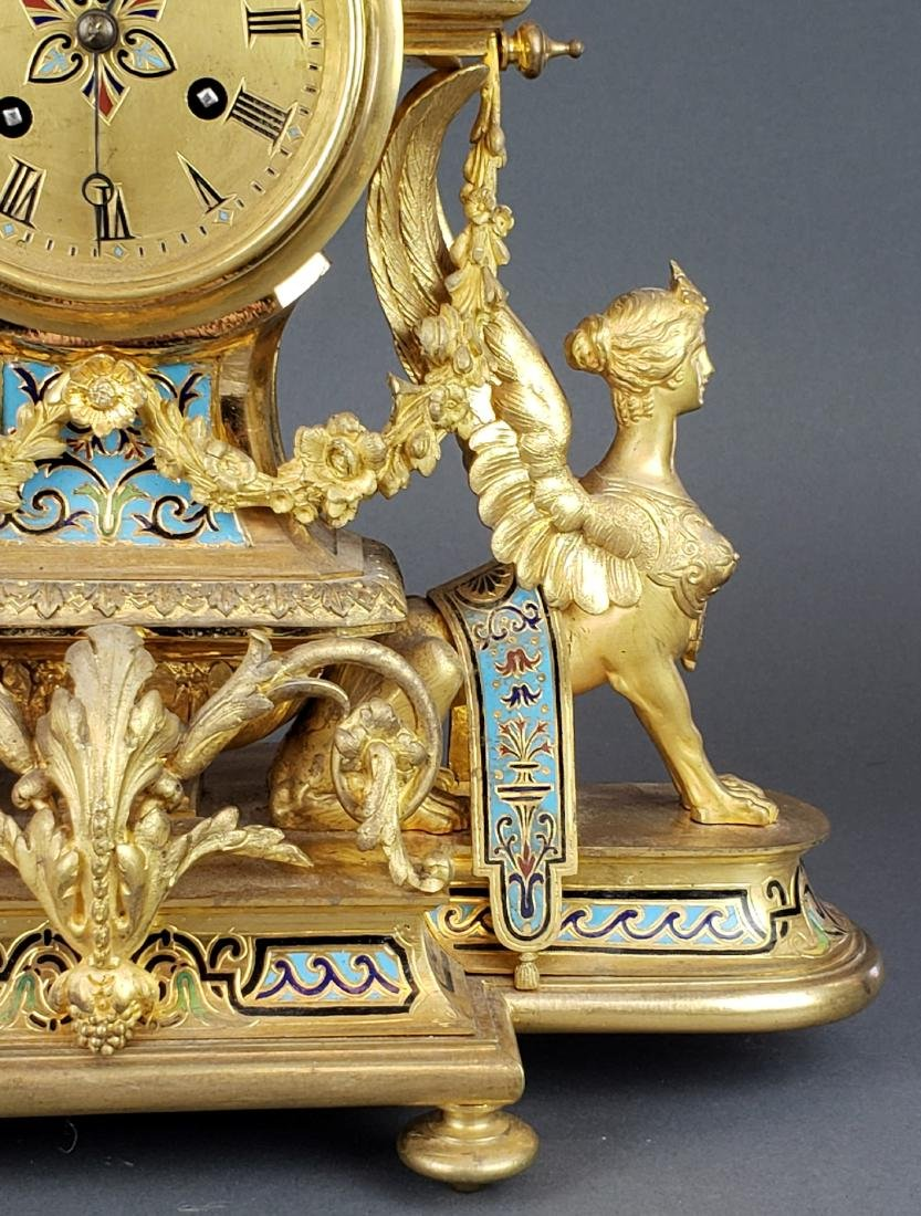 19th C. French Champleve Enamel & Bronze Figural - 4