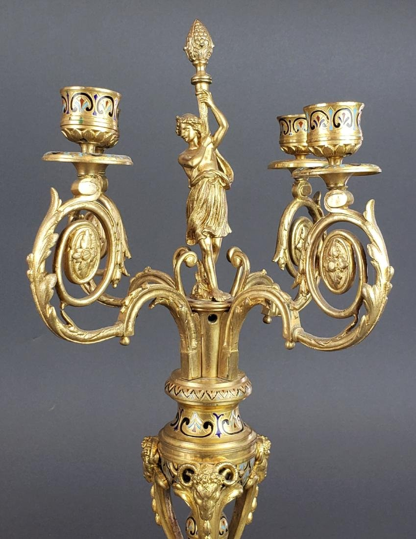 19th C. French Champleve Enamel & Bronze Figural - 7