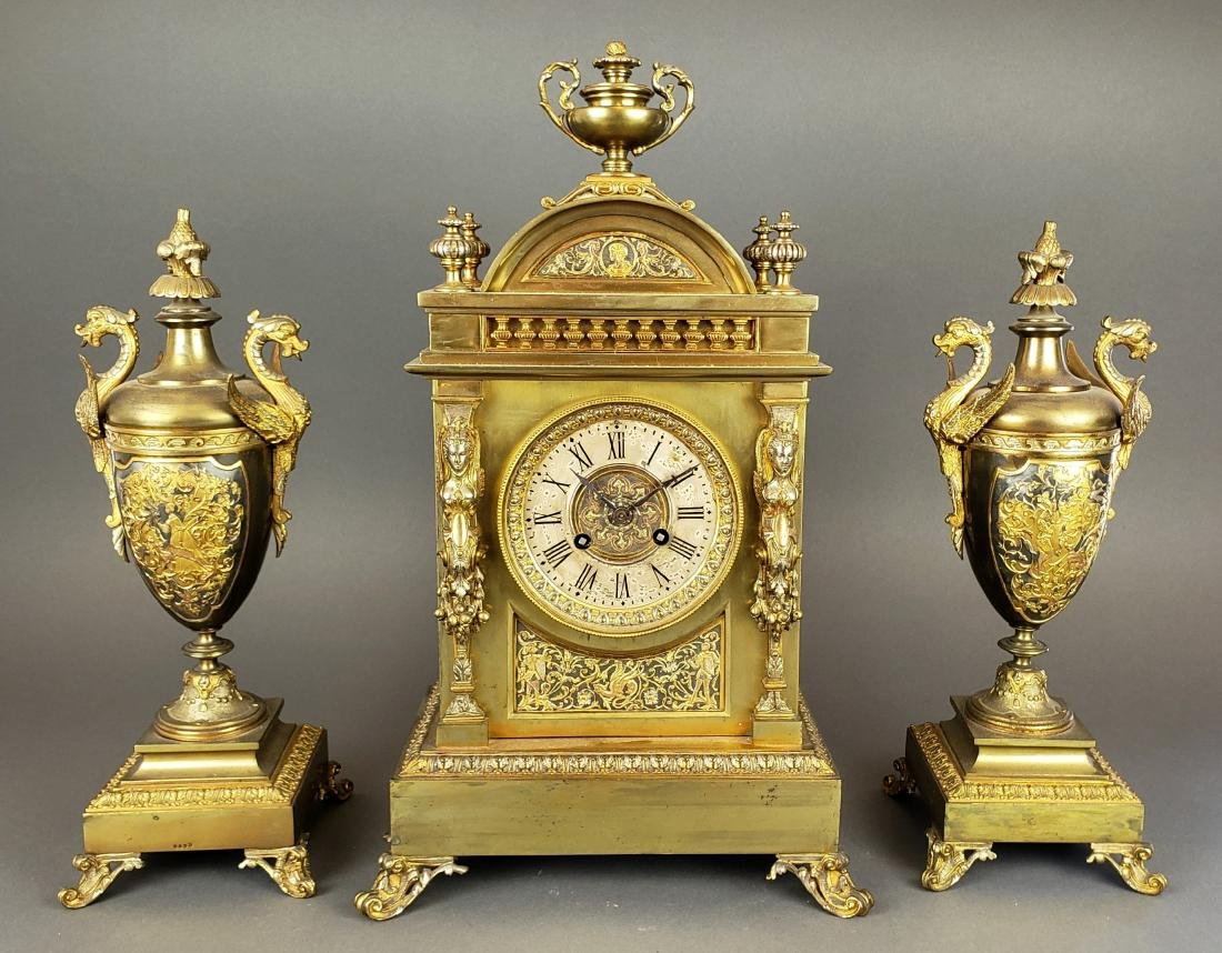 19th C. French Bronze Clockset