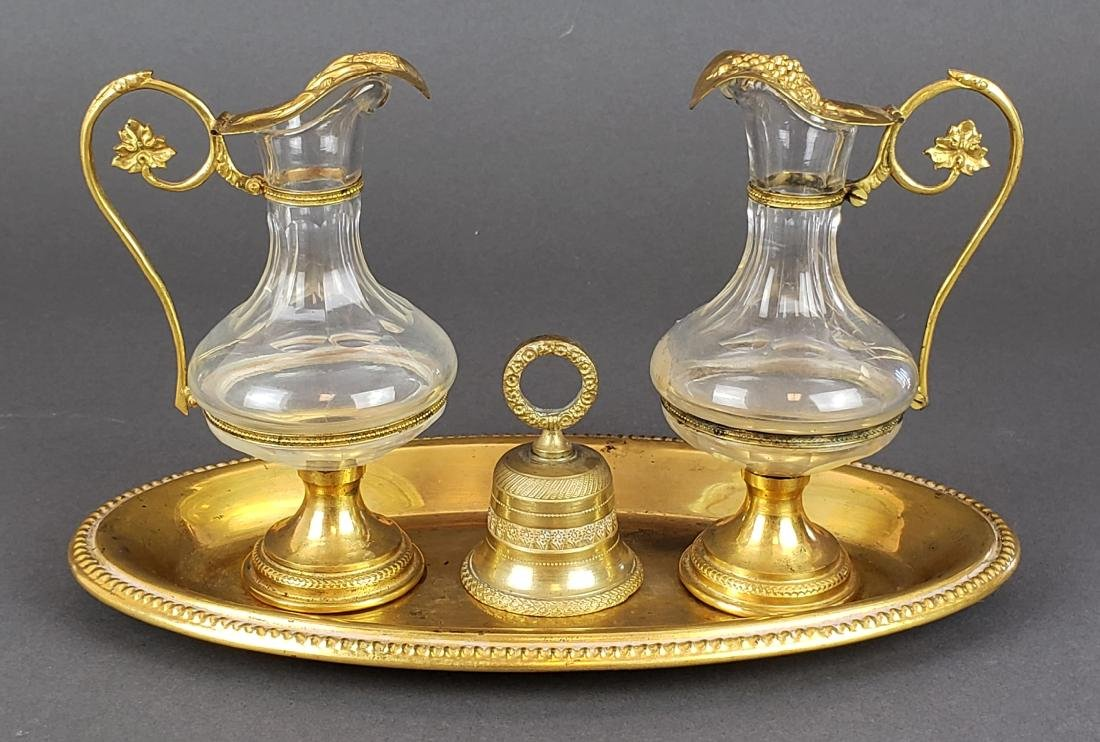 French Bronze & Crystal Cruet Set