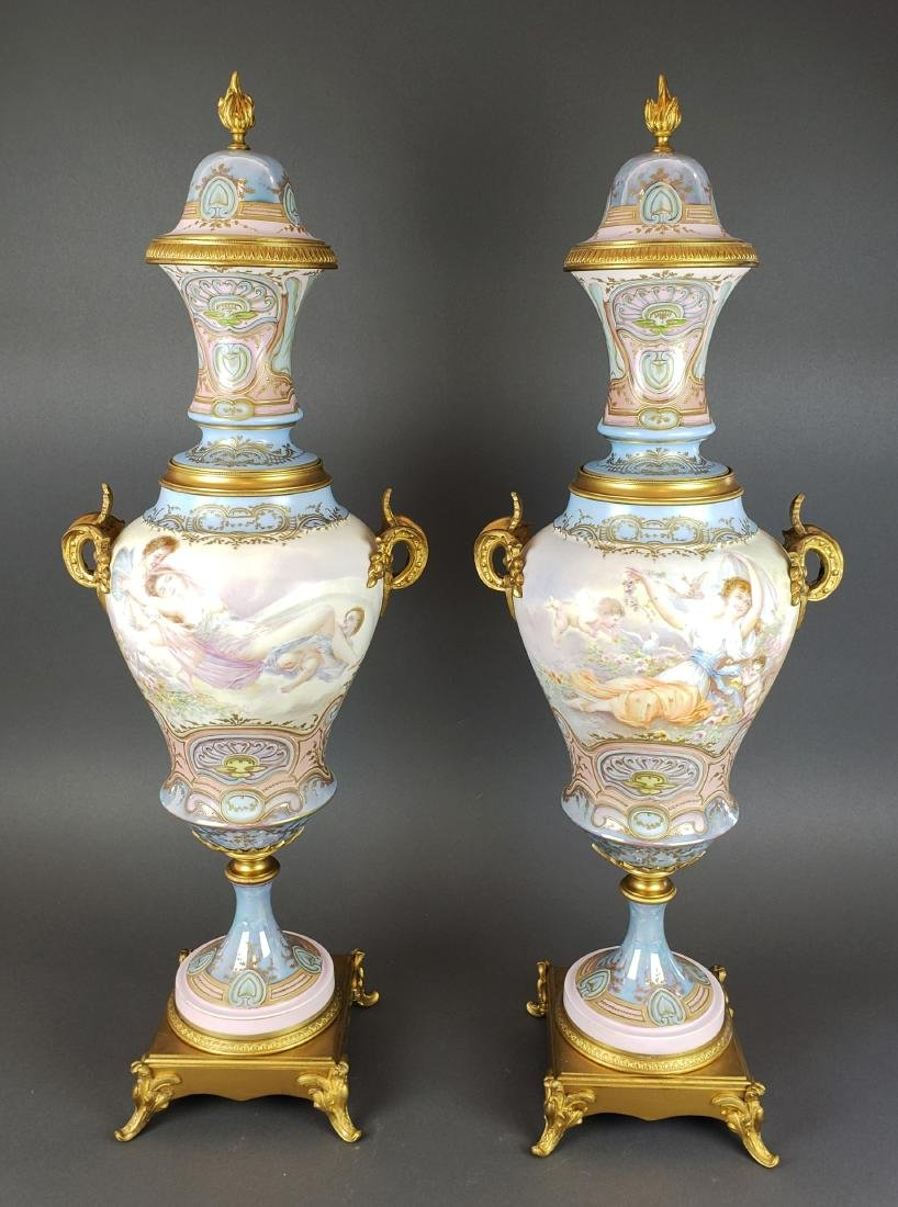Pair of 19th C. French Sevres Vases