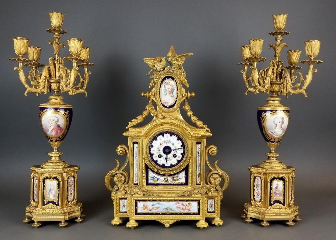 19th C. French Sevres 3 Pc. Clockset