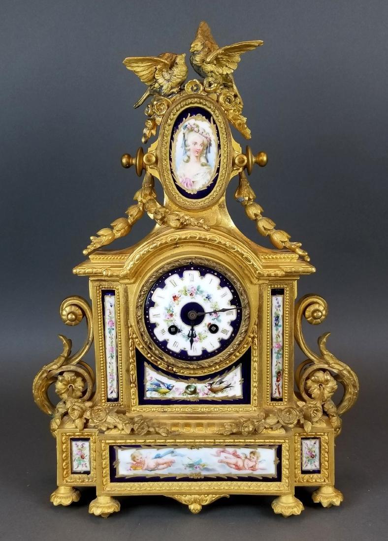 19th C. French Sevres 3 Pc. Clockset - 2