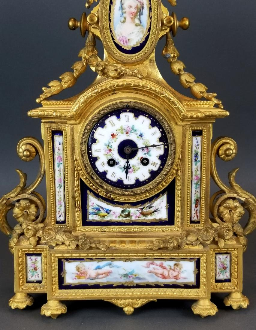 19th C. French Sevres 3 Pc. Clockset - 3