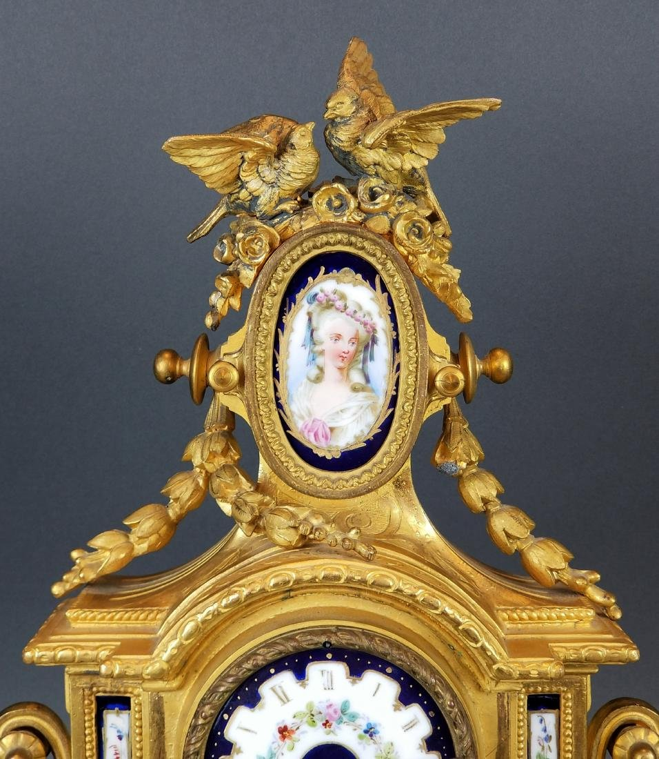 19th C. French Sevres 3 Pc. Clockset - 4
