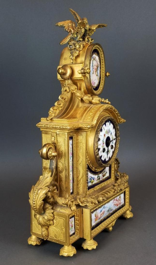 19th C. French Sevres 3 Pc. Clockset - 5