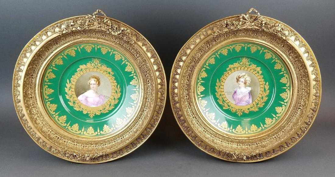 Pair of 19th C. Sevres Framed Hand Painted Plates