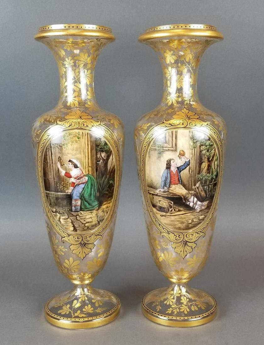 19th C. Pair of Large Moser Vases