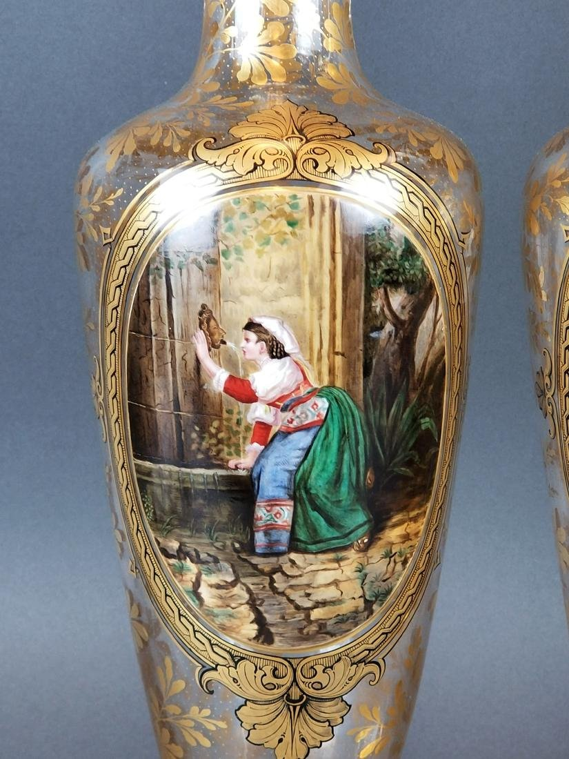 19th C. Pair of Large Moser Vases - 3