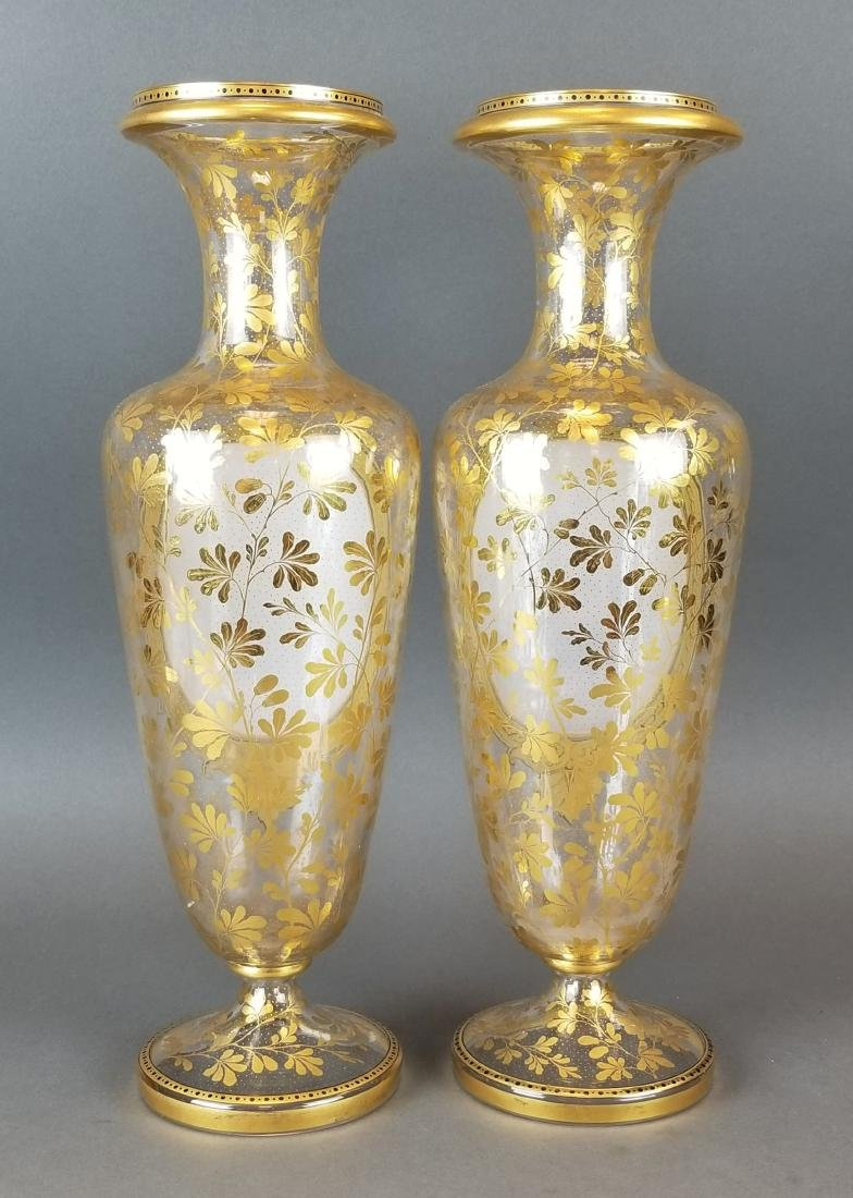 19th C. Pair of Large Moser Vases - 5