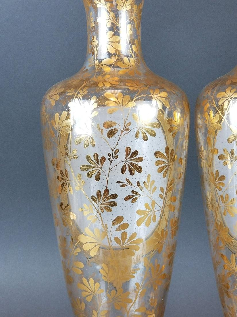 19th C. Pair of Large Moser Vases - 6