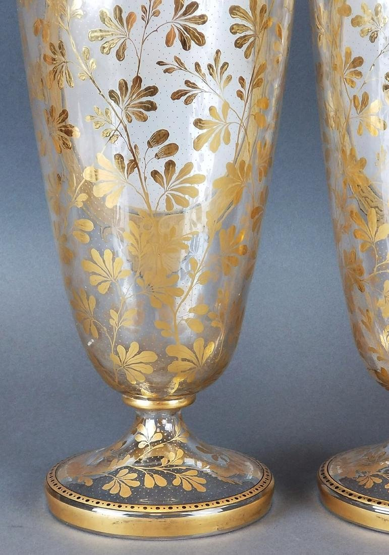19th C. Pair of Large Moser Vases - 7