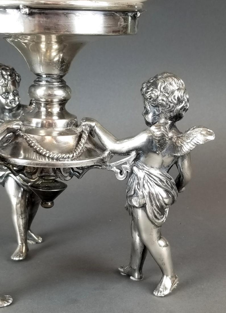 19th C. Silverplated & Opline Figural Centerpiece - 3