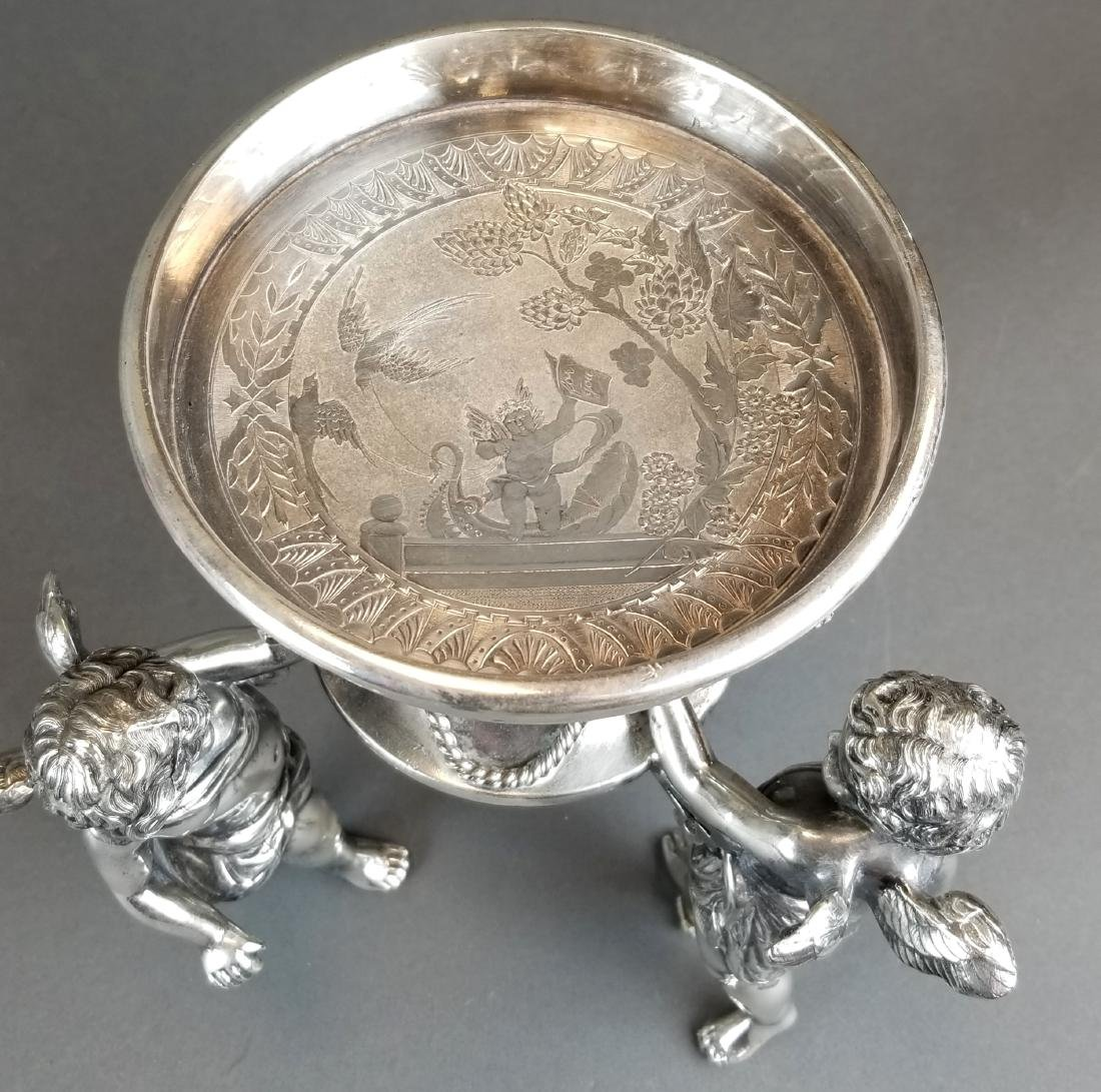 19th C. Silverplated & Opline Figural Centerpiece - 6