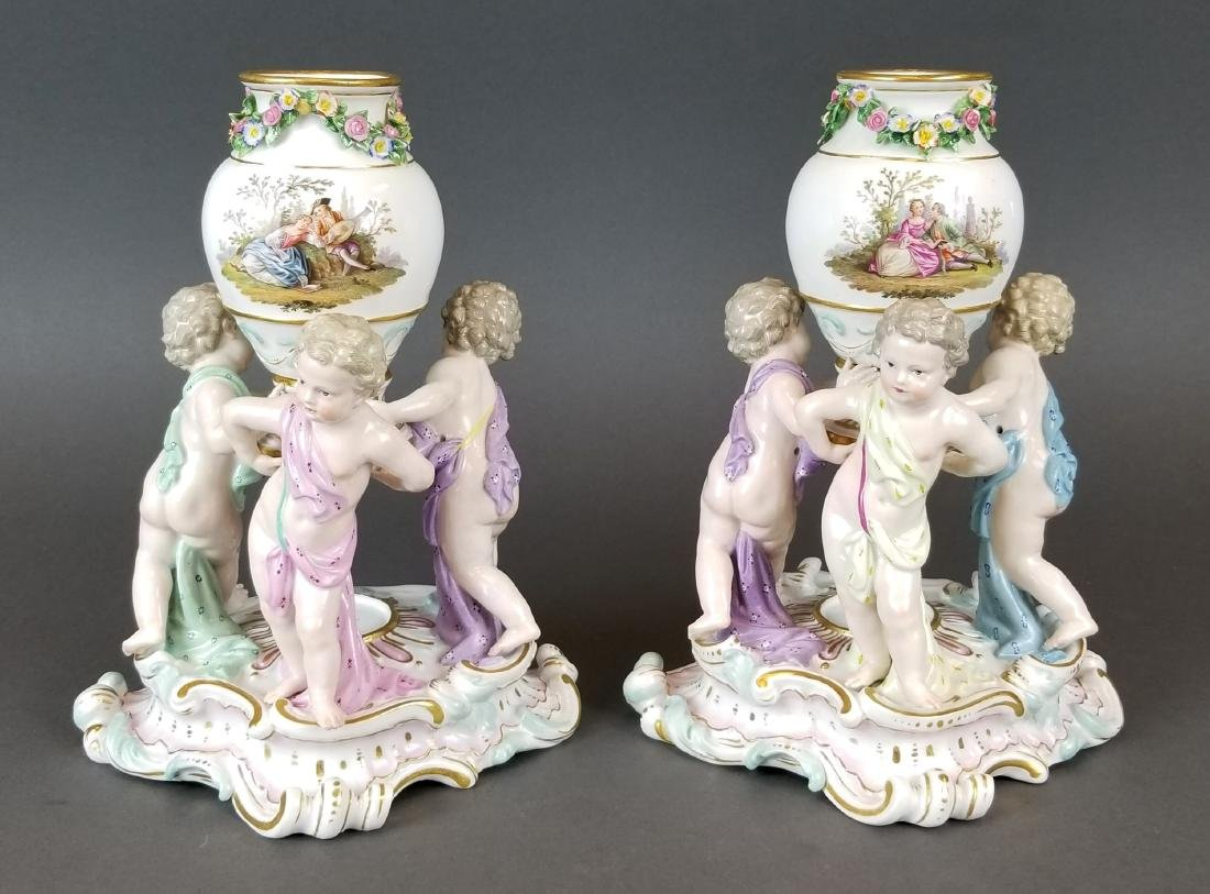 Pair of 19th C. Meissen Figural Vases