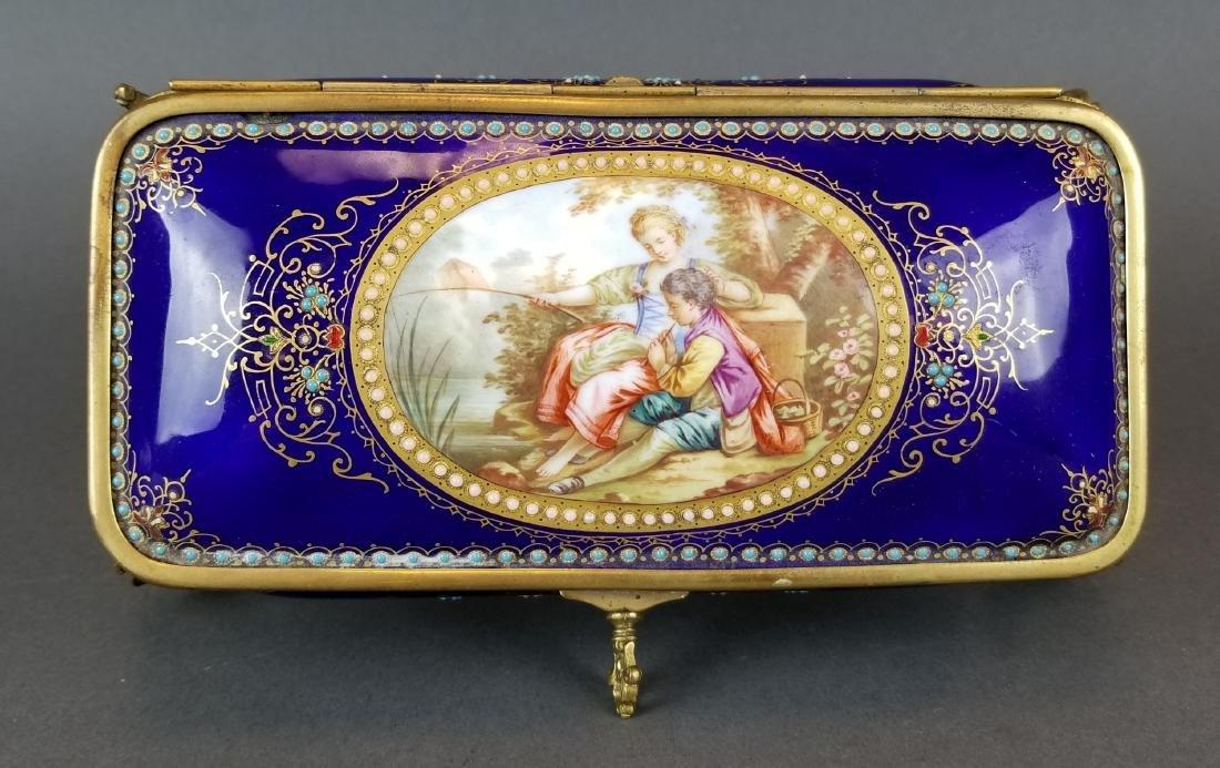 19th C. French Enamel & Bronze Jewelry Box - 3