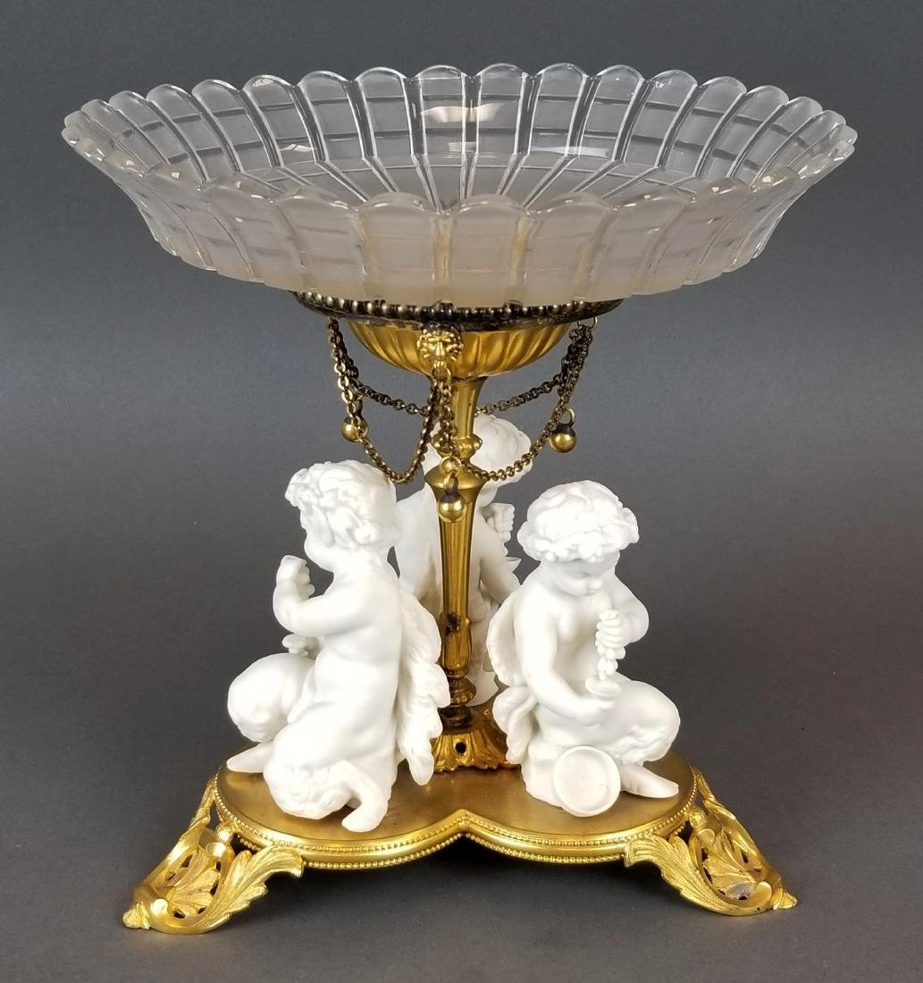 19th C. French Bisque & Crystal Centerpiece