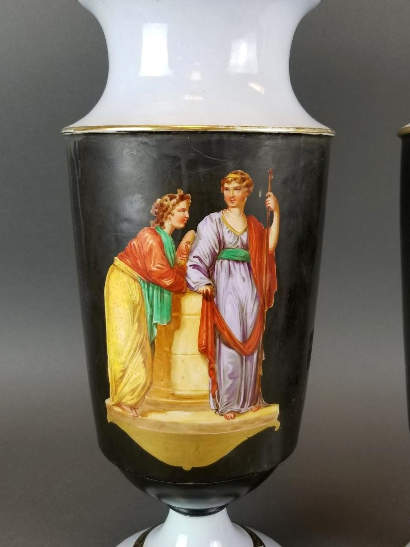 Pair of 19th C. Continental Porcelain Large Vases - 2