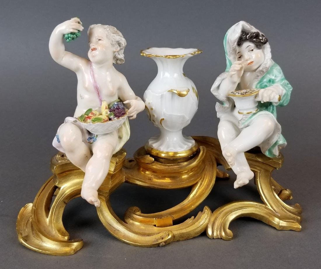 Pair of 19th C. Meissen Figural Groups on Bronze - 2