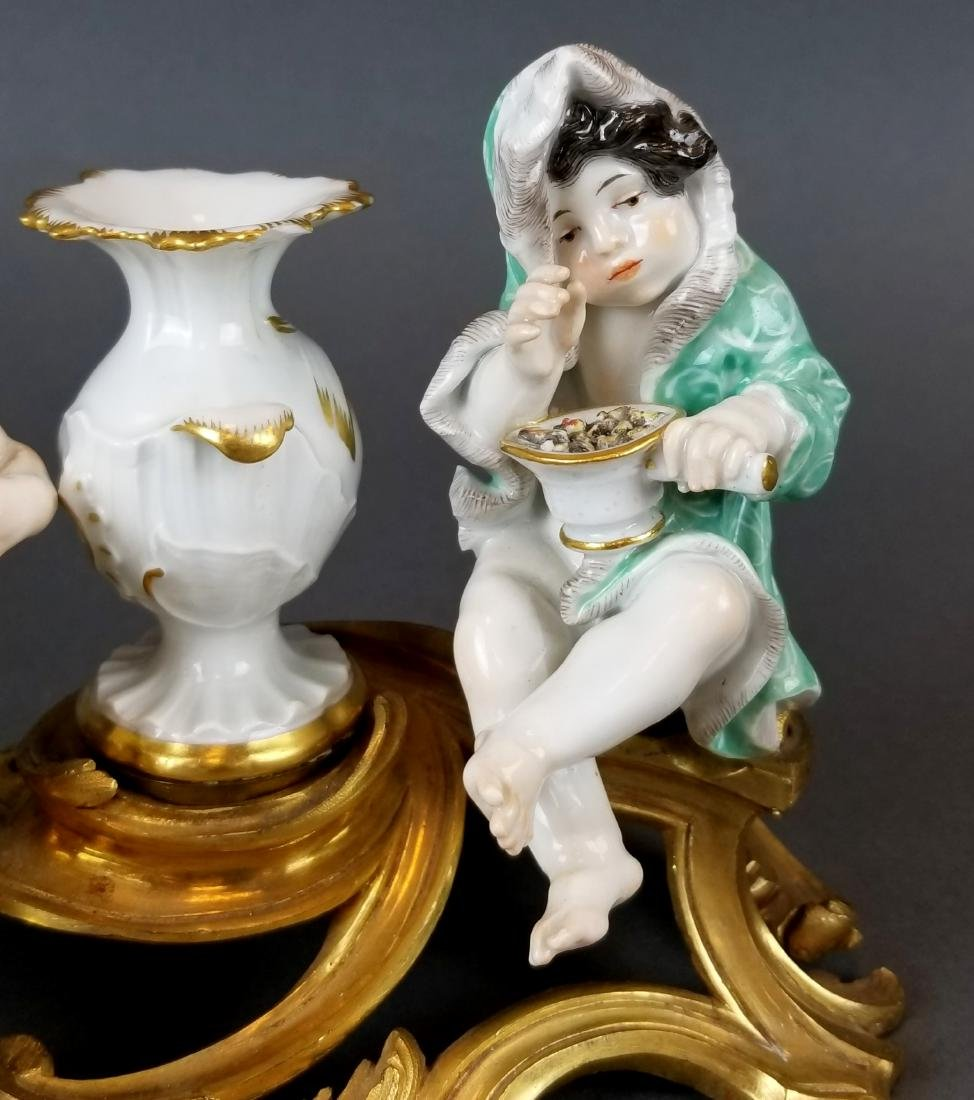 Pair of 19th C. Meissen Figural Groups on Bronze - 4