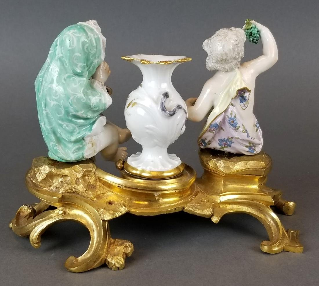 Pair of 19th C. Meissen Figural Groups on Bronze - 5