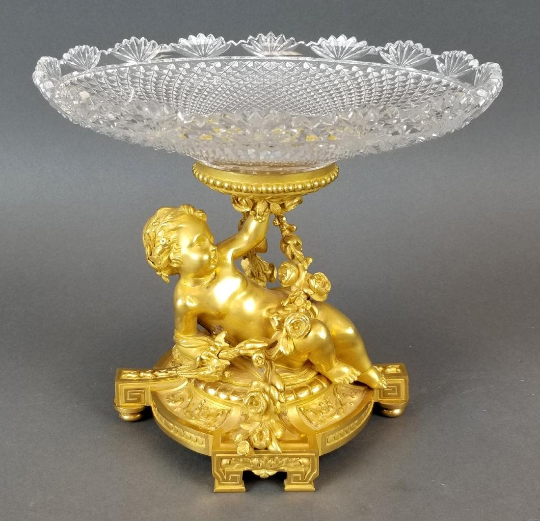 H. Picard Bronze Figural & Baccarat Crystal Centerpiece