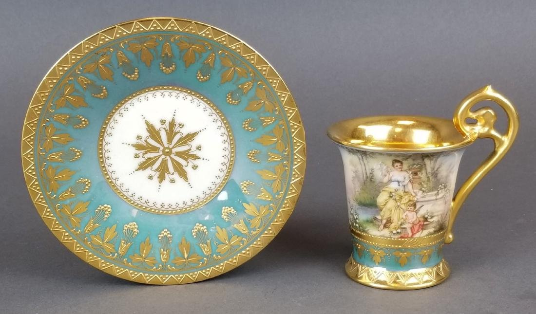 19th C. Royal Vienna Cup & Saucer Handpainted