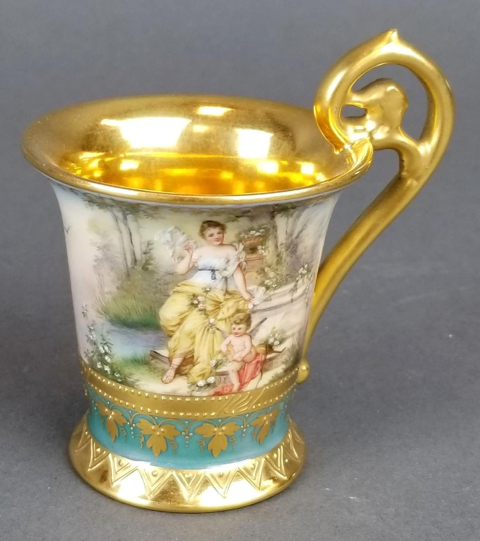 19th C. Royal Vienna Cup & Saucer Handpainted - 4