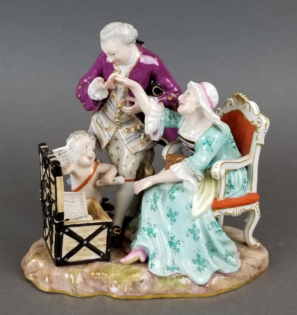 19th C. Meissen Porcelain Group of Elderly Couple