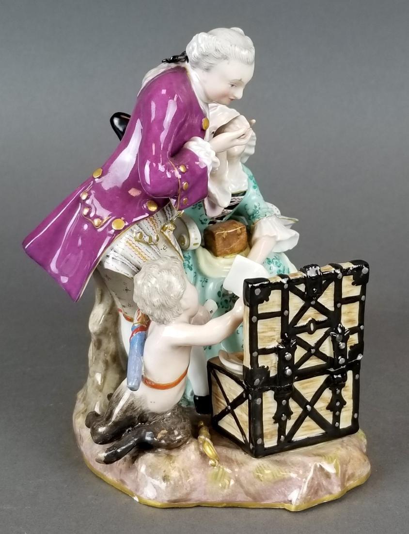 19th C. Meissen Porcelain Group of Elderly Couple - 5