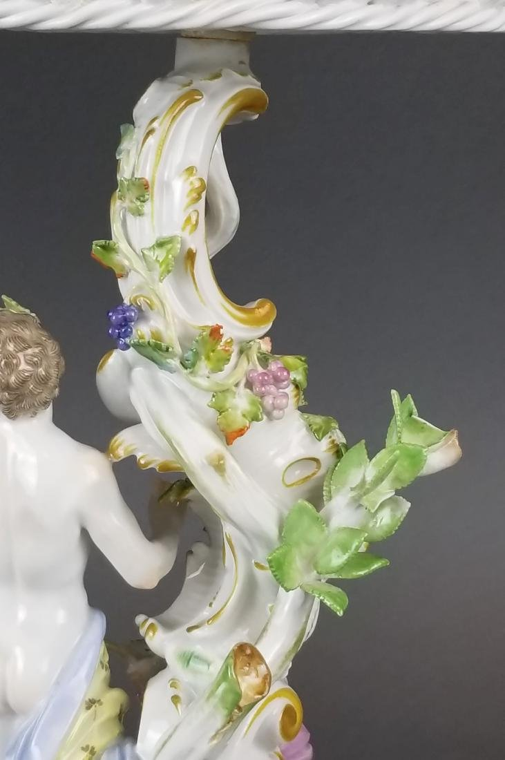 19th C. Meissen Porcelain Figural & Reticulated Cake - 5