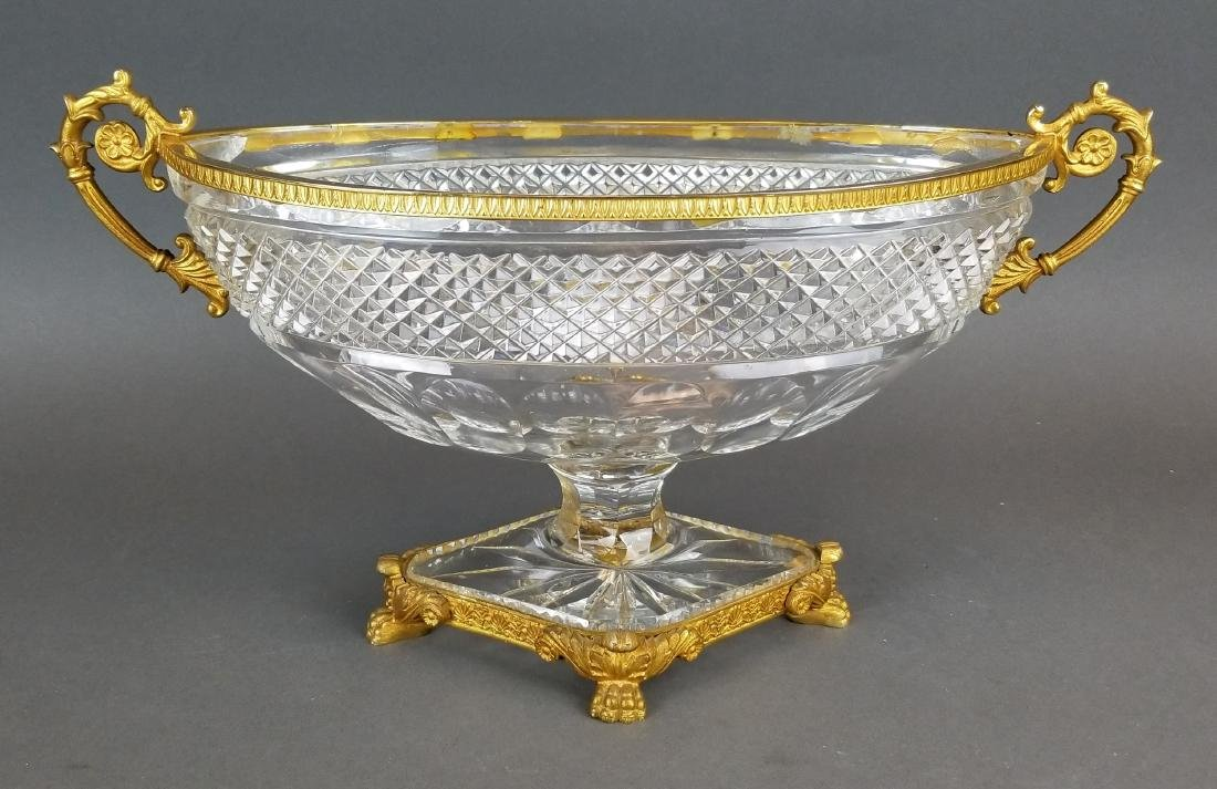 19th C. Baccarat Crystal & Bronze Centerpiece