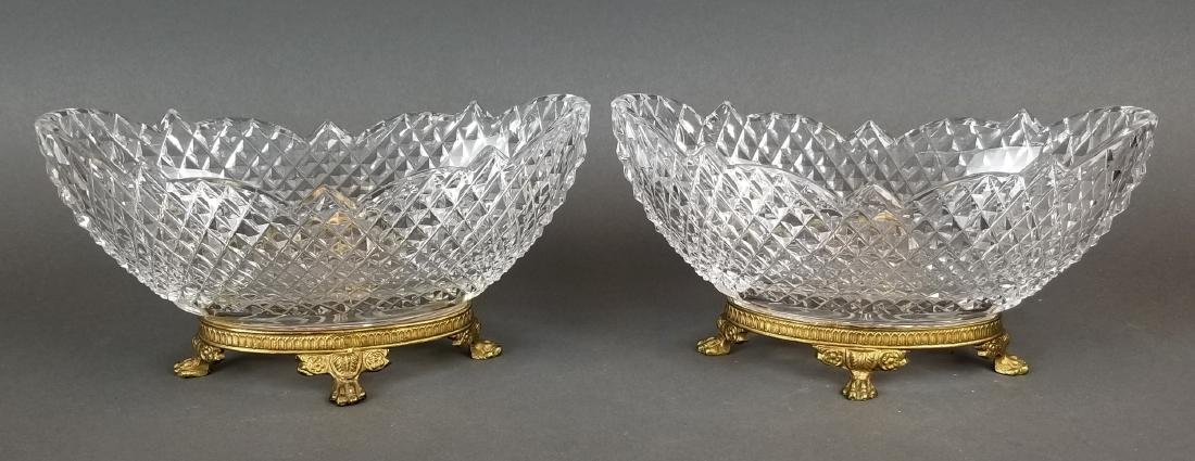 Pair of 19th C. Baccarat Crystal & Bronze Bowls