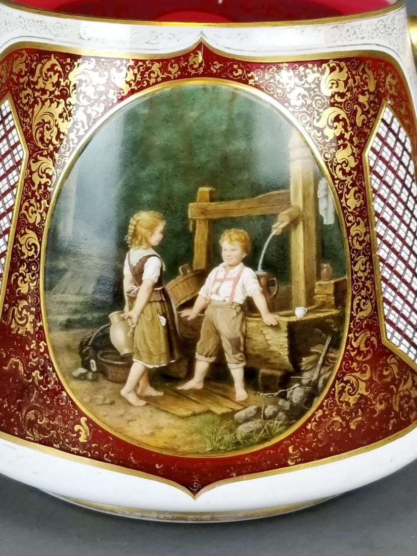 19th C. Large Bohemian Hand Painted Bowl - 2