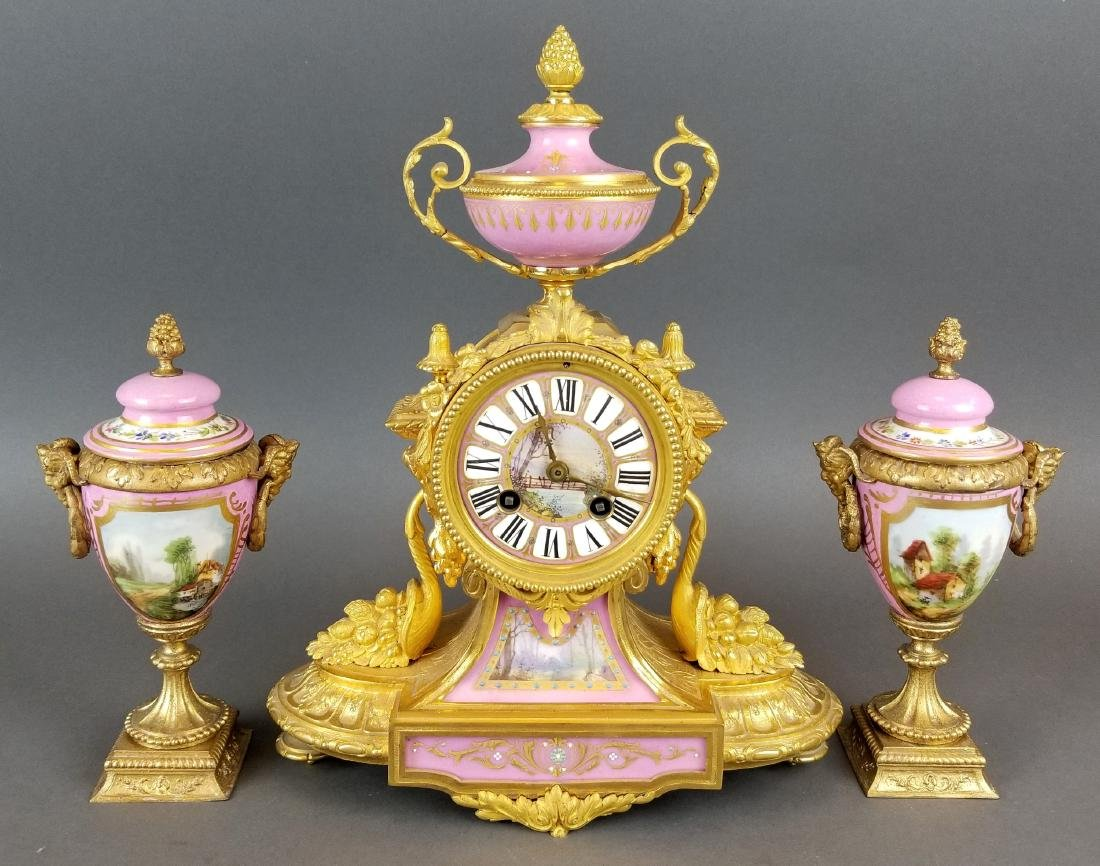 19th C. French Bronze & Sevres Porcelain Clockset