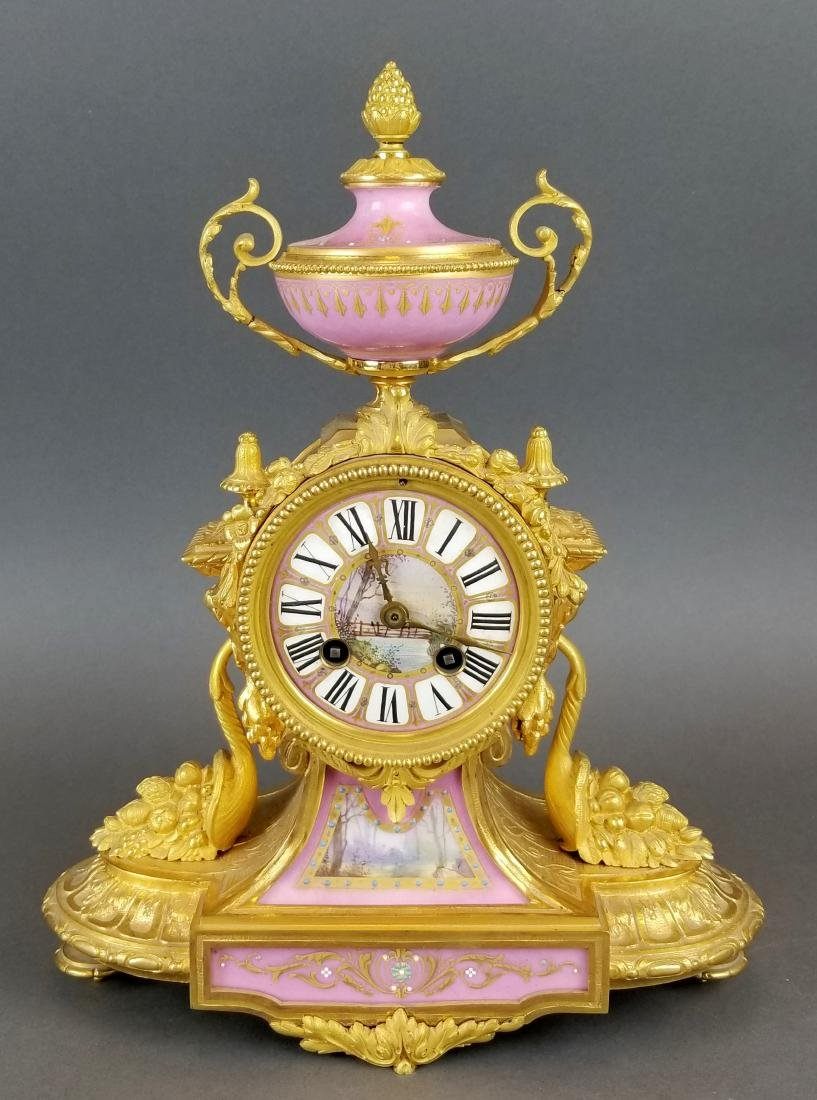19th C. French Bronze & Sevres Porcelain Clockset - 2