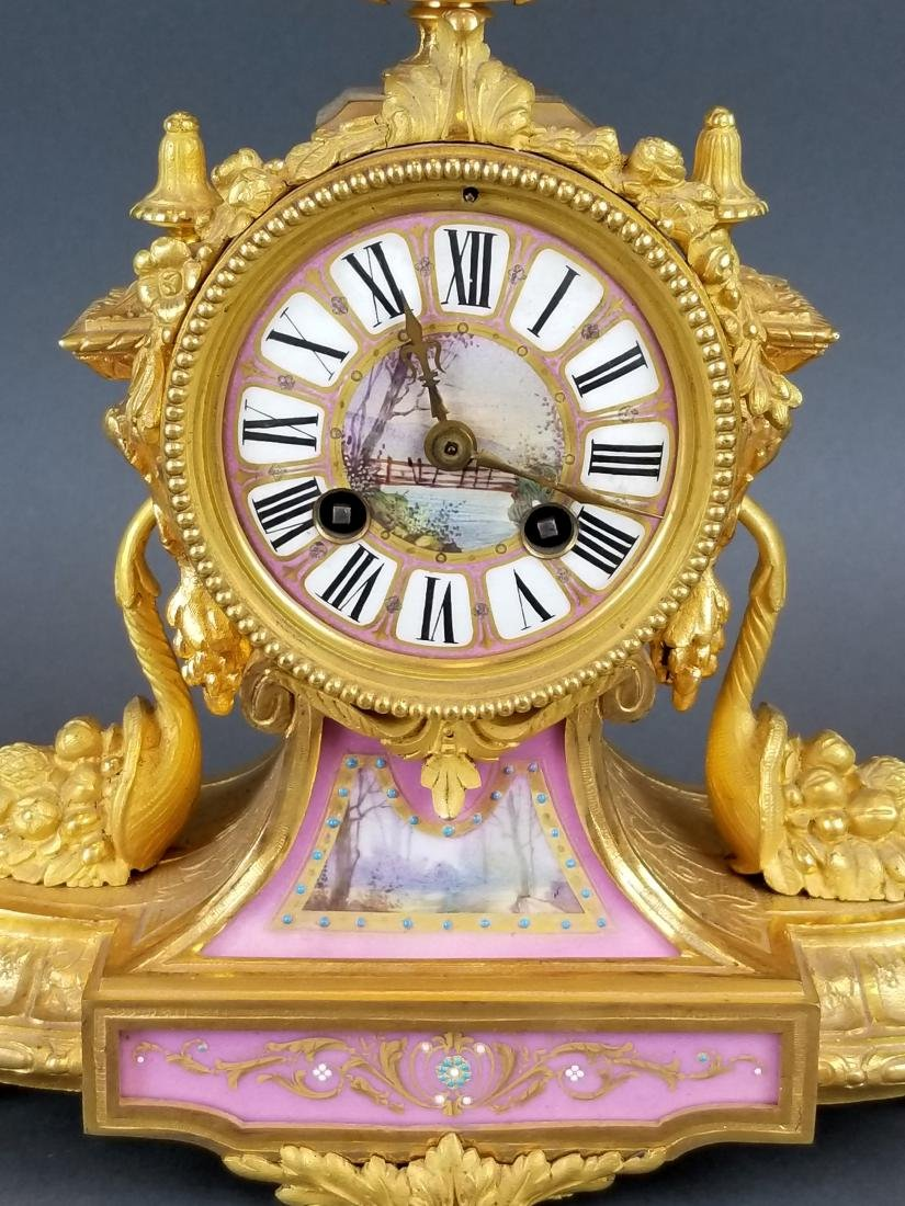 19th C. French Bronze & Sevres Porcelain Clockset - 3