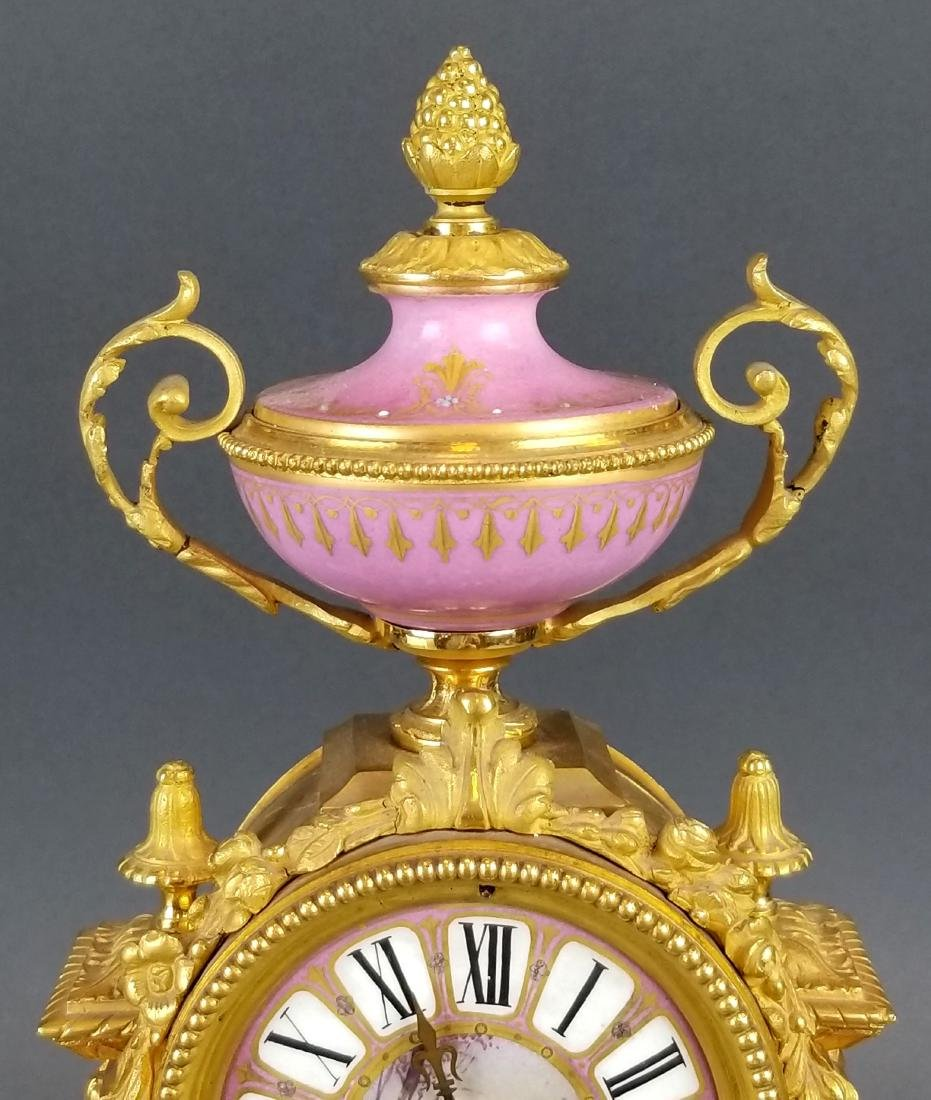 19th C. French Bronze & Sevres Porcelain Clockset - 4