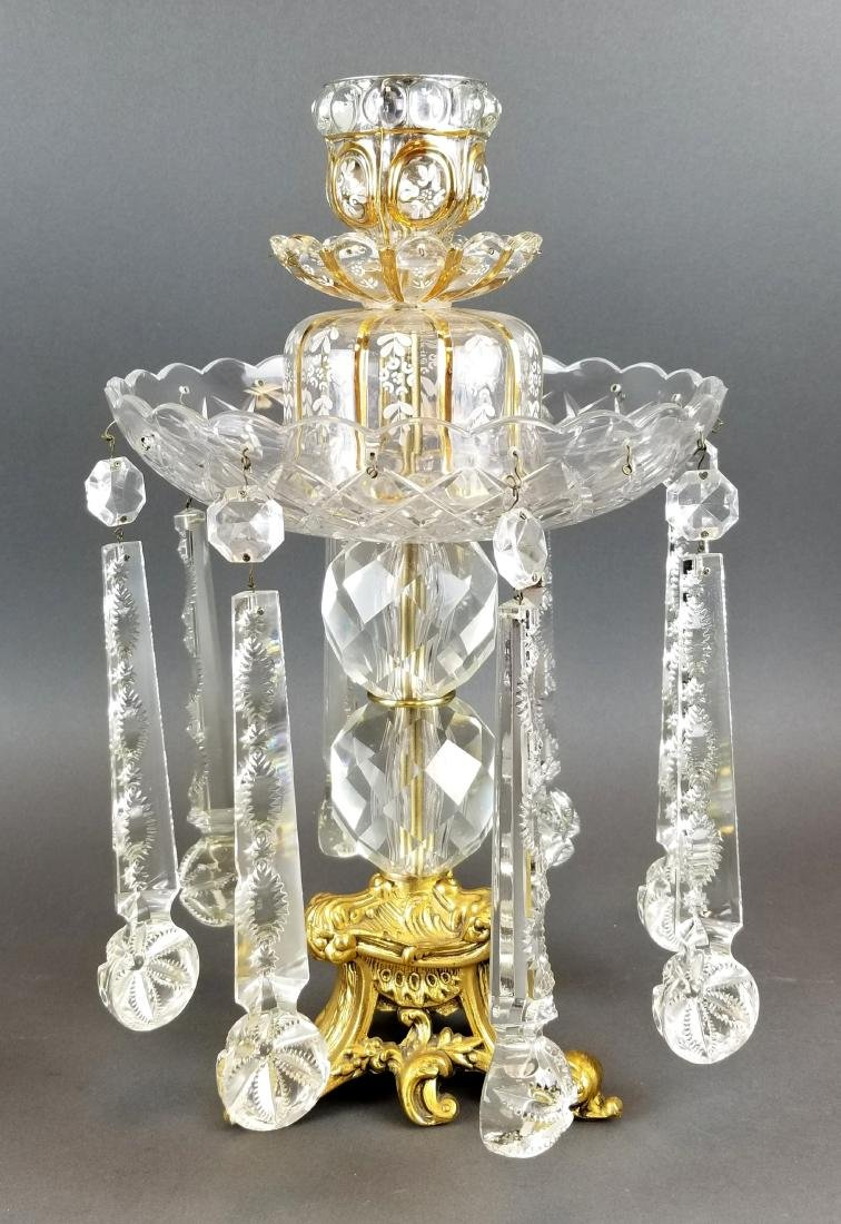 Baccarat Style Set of 3 Candlestick Lusters - 2