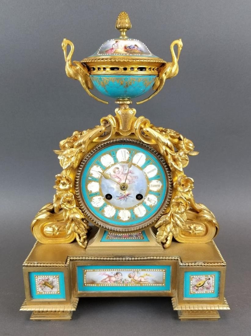 French Bronze & Sevres Porcelain Jewelled Clock