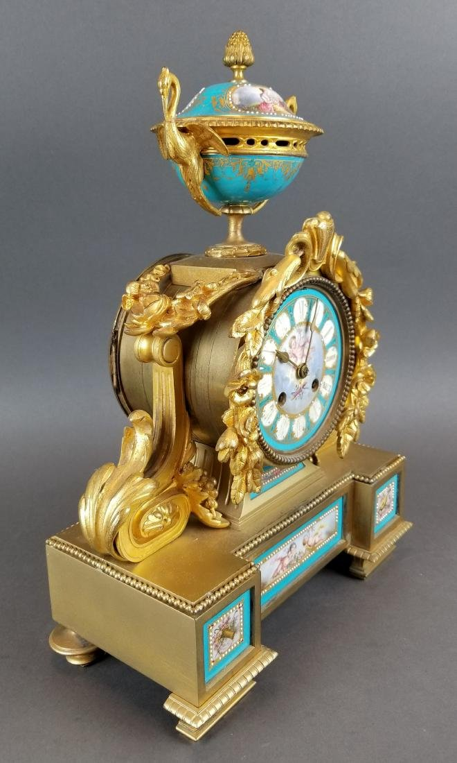 French Bronze & Sevres Porcelain Jewelled Clock - 4