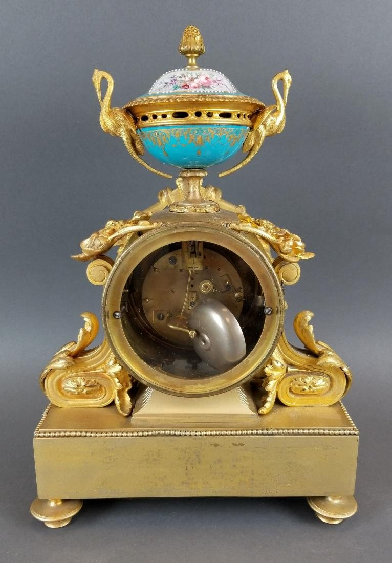 French Bronze & Sevres Porcelain Jewelled Clock - 5