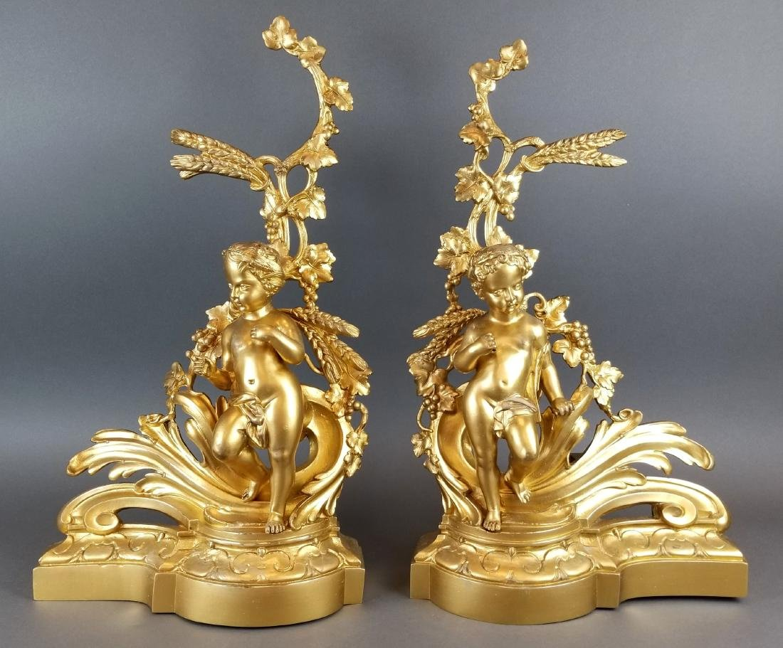 19th Pair of French Bronze Figural Chenet