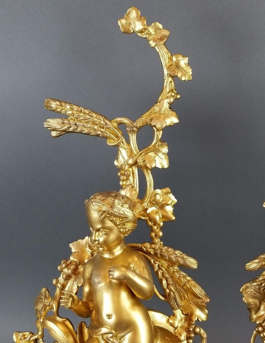 19th Pair of French Bronze Figural Chenet - 3