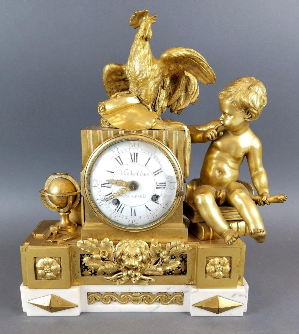 19th C. French Bronze & Marble Mantle Clock