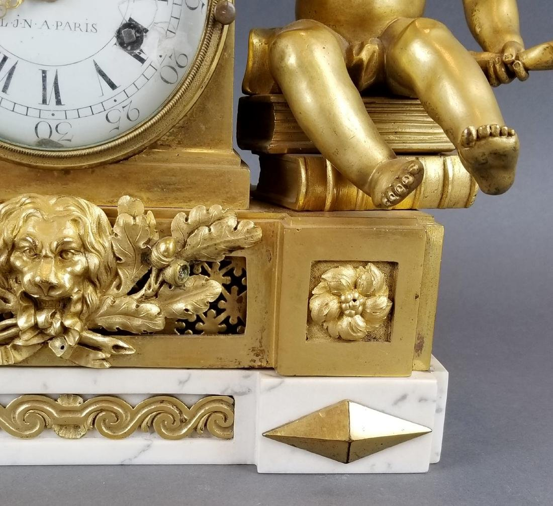 19th C. French Bronze & Marble Mantle Clock - 5